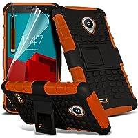 (Arancione) <b> Vodafone Smart Prime 6 caso </ b> Case Case Custodia di alta qualità duro durevole Survivor dura robusta prova di scossa Caso Heavy Duty con basamento posteriore di caso della copertura della pelle e della protezione dello schermo da i-Tronixs