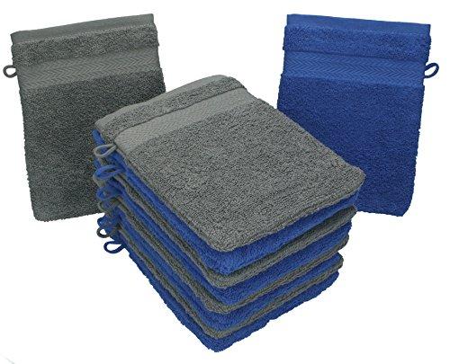 Betz lot de 10 gants de toilette taille 16x21 cm 100% coton Premium couleur bleu royal, gris anthracite