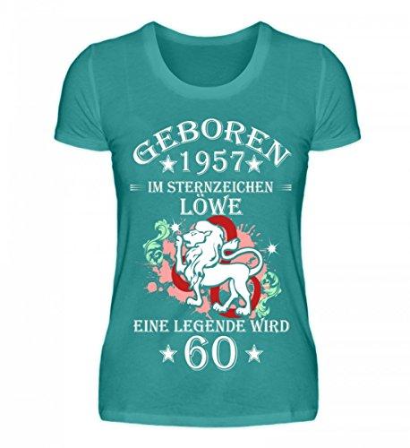Shirtee Hochwertiges Damen Organic Shirt - Sternzeichen Löwe Wird 60 Atollblau