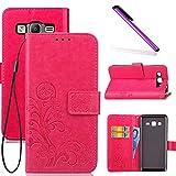 COTDINFOR Galaxy On5 Hülle für Mädchen Elegant Retro Premium PU Lederhülle Handy Tasche im Bookstyle mit Magnet Standfunktion Schutz Etui für Samsung Galaxy On5 Clover Red SD