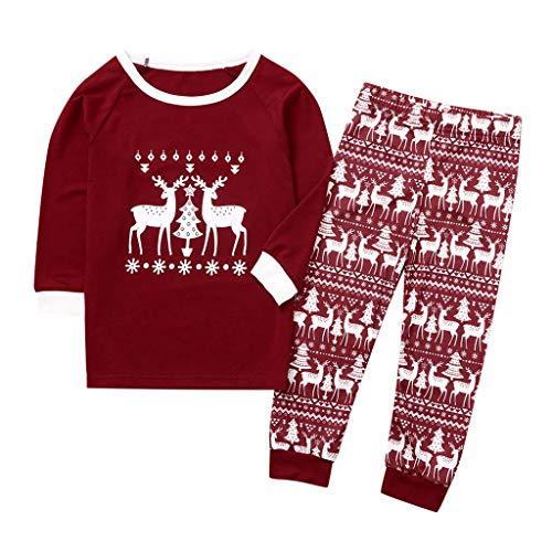 OHQ Weihnachten Nachtwäsche Schlafanzüge Familien Outfit Pyjama Set Hirsch Drucken Festliche Passende Sets Oberteil Schlafanzüge Zweiteiliger Sleepwear Overall Kostüm Damen Herren Kinder (Kostüm Jemals Für Kinder)