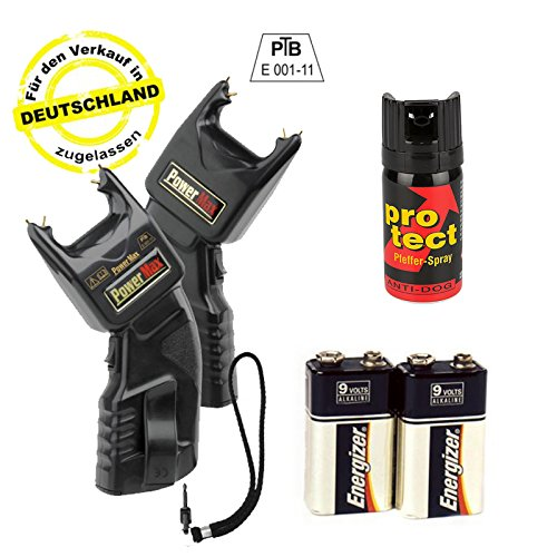 Elektroschocker 500.000 Volt inkl. Batterien & Pfefferspray - Mit PTB Zulassung -