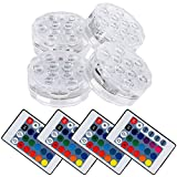 Lictin LED Wasserdicht Unterwasserbeleuchtung Pool Zubehör mit Fernbedienung, 4 Stück