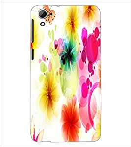 PrintDhaba Floral Pattern D-1107 Back Case Cover for HTC DESIRE 826 (Multi-Coloured)