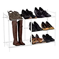 Harima - Baram Shoe Rack 3 Tier White Powder Coated Metal Wire Mesh Storage Organiser with High Space for Boots, Wellies, Shoe Stand Shelf