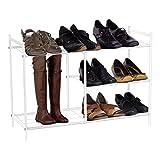 Harima - Baram Schuhregal, 3 Etagen, weiße Pulverbeschichtung, Metalldraht, Netz-Design, Aufbewahrungsgelegenheit für Stiefel, Gummistiefel, Schuhe etc.