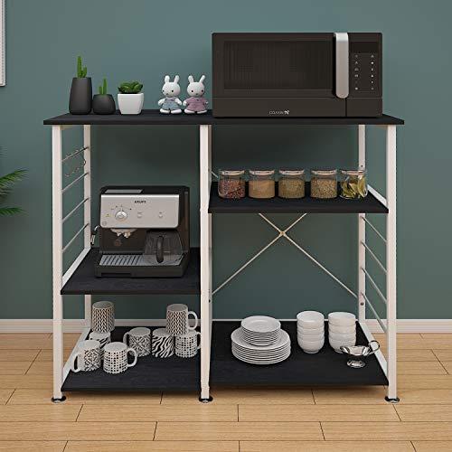 DlandHome 3+3 Ablage Mikrowellenhalter Küchenregal Bäcker Regal Standregal multifunktionale Küche Regal Speicherwagen mit Haken (Basisversion Schwarz)