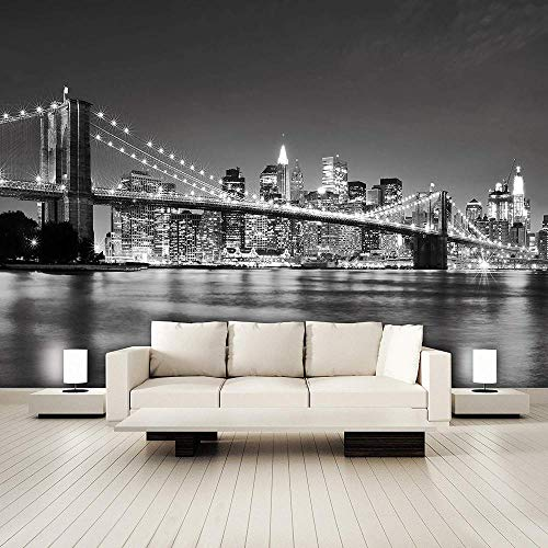 JJXBBL Tapete 3d new york fototapete manhattan skyline city usa schwarz und weiß brooklyn bridge nacht foto Wandbehang Wandteppich-250cmx175cm
