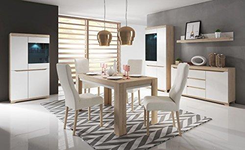 Esszimmer Komplett - Set A Bizerte, 9-teilig, Farbe: Buche / Weiß