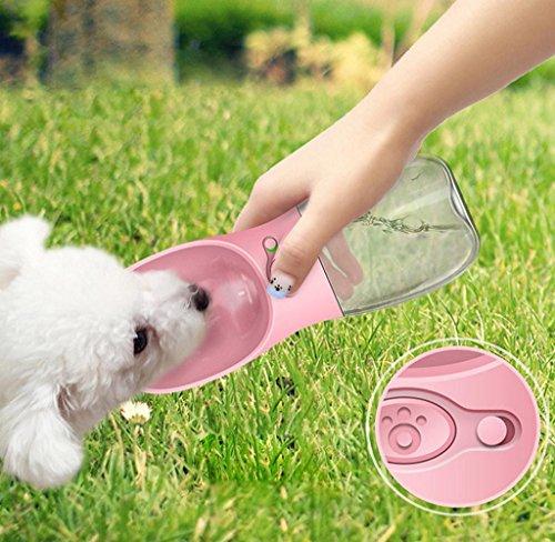 Mecohe Bottiglia d'acqua per Cani e Gatti, Animale Domestico Viaggio Bottiglia d'acqua Portatile Dispenser Borraccia con Abbeveratoio Portatile All'aperto Fontanella (Rosa)