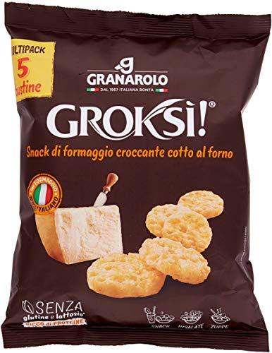 Cialde croccanti di formaggio, con Grana Padano. Ingredienti: 100% formaggio (latte, sale, caglio, conservante: lisozima da uovo), di cui 75% semi-stagionato e 25% Grana Padano DOP. Senza glutine. Senza lattosio*. *lattosio
