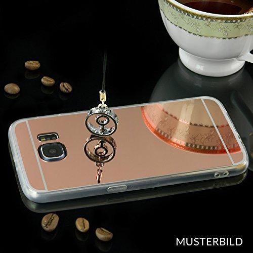 EGO® Luxus TPU Spiegel Schutzhülle Case für iPhone 5 / 5s schwarz Back Cover mit Glanz Mirror Schutz-Case Silikon Kupfer + Glas