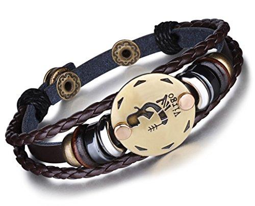 isch 12 Sternbilder Sternzeichen Herren Damen Charm Armband Geflochten Leder Legierung Multilayer Braun Armreifen, Jungfrau(Virgo) ()