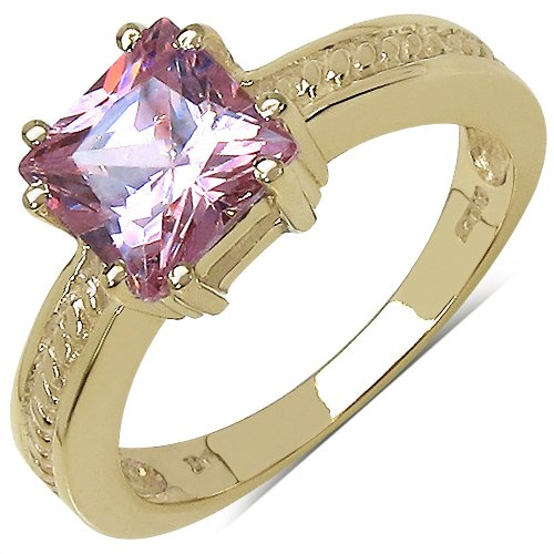 Johareez Suraabi 2.10CTW Pink Cubic Zirconia 14K Yellow Gold Plated Brass Ring For Women Size 6