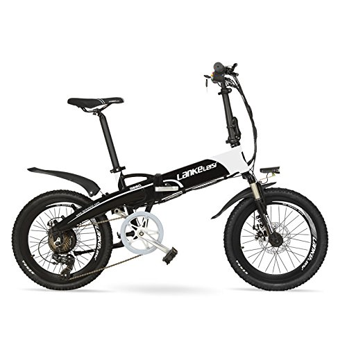 """LANKELEISI Batería Oculta de Alta Potencia G660 48V10Ah 20""""Bicicleta de montaña eléctrica Plegable, Marco de aleación de Aluminio, Horquilla de suspensión (Black White Standard)"""