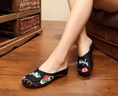 ZQ Feine gestickte Schuhe, Sehnensohle, ethnischer Stil, weiblicher Flip Flop, Mode, bequem, Sandalen Black
