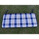 Garden Furniture Cushion - Blue Check 2 Seater Bench Cushion For a Metal 2 Seater Garden Bench Or a Wooden Garden Bench 116x48x6cm