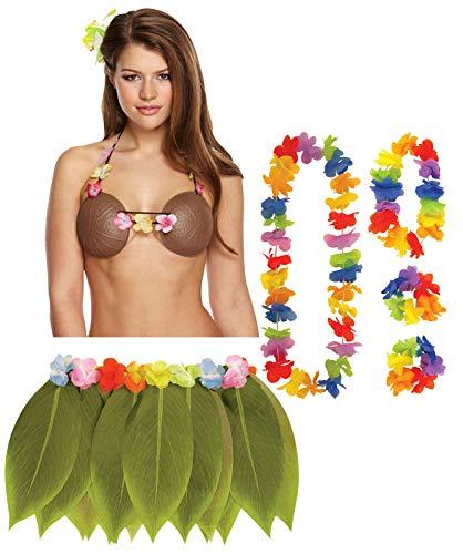 Labreeze Kokosnuss-BH Hula Lei Set Blume Girlande Blatt Rock Hawaiian Party Fasching