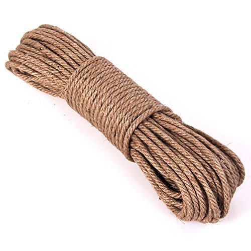 Hanfseil, starke 6 mm mit Jute-Seil, natürliches Hanf Seil Band Jute Twine Kunst Handwerk DIY Dekoration Geschenkverpackung, Garten, Haustiere, Hanf, Mehrzweck-Twine Rope 30 (96 FT) PACK 1 -