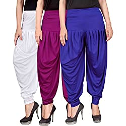 Dhoti pants for womens -Culture the Dignity Womens Lycra Dhoti Patiala Salwar Harem Pants CTD_00WP1B1_1-WHITE-PURPLE-BLUE-FREESIZE - Combo Pack of 3