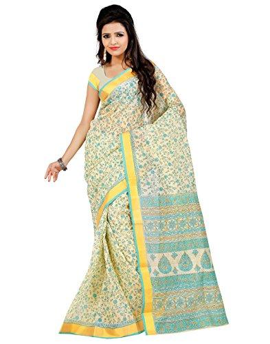 Roopkala Silks & Sarees Cotton Saree with Blouse Piece (Ma-1003 _Cream)