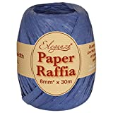 Eleganza 8 mm x 30 m de Ruban en Raphia Papier pour de Nombreux projets manuels et Emballage Cadeau, N0.19 Bleu Marine