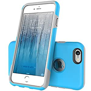 iPhone 6 Case - TOTU & LOOPEE [ Heavy Duty ] Candy Slim Armor Dual Layer Hybrid Case for iPhone 6 4.7 inch cover ( Cyan Blue / Haze Gray )