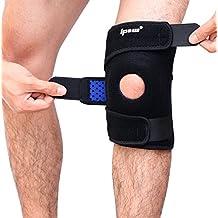 Ipow® Soporte deportivo para rodilla, protecciones rodilla/rodillera para correr, baloncesto, saltar, caminar y otros ,tamaños adjustble hasta 21 pulgadas,confortable para hombres y mujeres, Negro con azul