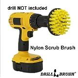 Drillbrush Méchage Brosse jaune 10cm pour perceuse sans fil électrique Scrubber Pour Nettoyage de tapis spot moyen Rigidité Soies de nylon Nettoyage général tour 4 de pouce jaune
