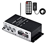 Lepy Mini Verstärker Audio Digital Stereo HiFi Verstärker FM Radio 2 Kanal 2x15W Class T Power Amp Booster für Auto Motorrad Home mit USB/SD/MMC Port & Fernbedienung mit Wechselstromadapter
