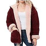 Logobeing Chaqueta Suéter Abrigo Jersey Mujer Invierno Cardigan Mujer Chaqueta Punto Abrigo de Mujer con Cremallera de Felpa y Piel Sintética Top (S, rOJA)