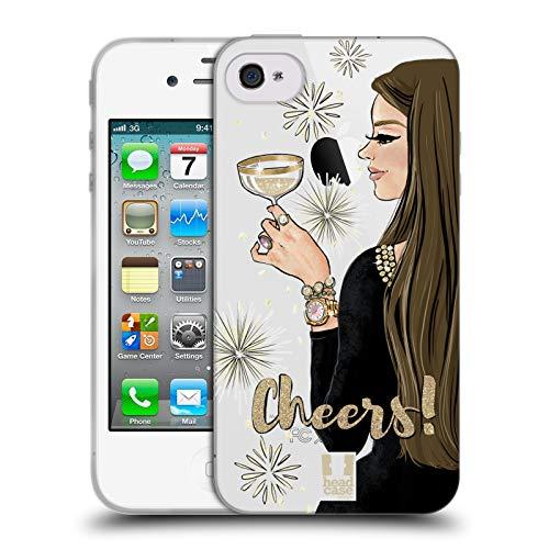 Head case designs ragazza champagne celebrazione del vino cover in morbido gel compatibile con iphone 4 / iphone 4s