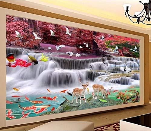 Yirenfeng carta da parati autoadesiva in carta hd calamari sika cervo alberi feng shui paesaggio cascata acqua e ricchezza-200x140cm