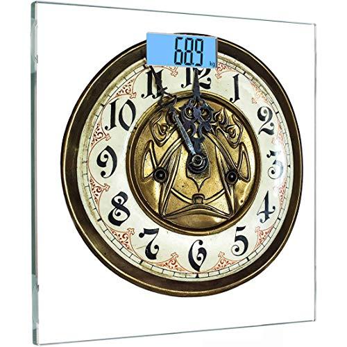 Ultra Slim Hochpräzise Sensoren Digitale Körperwaage Uhr Gehärtetes Glas Personenwaage, Antikes Thema Eine Vintage-Uhr mit einem Gesicht darauf Stilvolles Muster, Multicolor, Hintergrundbeleuchtung Di