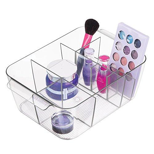 mDesign Caja de almacenaje con ocho compartimentos – Contenedor de plástico transparente con asas – Ideal como organizador de baño