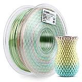 AMOLEN PLA Filamento Impresora 3D 1.75mm Seda Rainbow Multicolor 1KG,+/- 0.03mm Materiales de impresión 3D de filamento, incluye Glow in the Dark Azul Muestra Filamento.