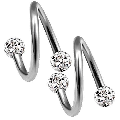 2 Stück 1,2mm 8mm piercing spirale titan ohr tragus twister kugel unterlippe twist helix lippenpiercing lippe nasenpiercing Ferido kristall kugel B2WCA - CL -