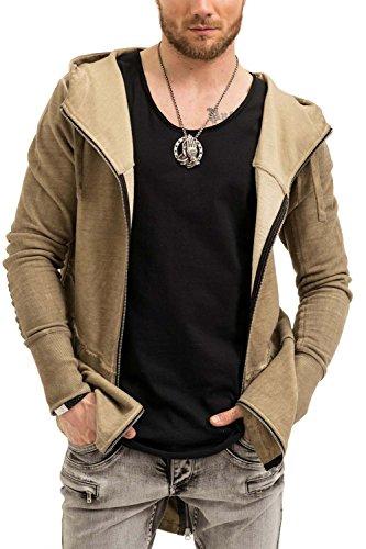 trueprodigy Casual Herren Marken Sweatjacke einfarbig Basic, Oberteil cool und stylisch mit Kapuze (Langarm & Slim Fit), Sweat Jacke für Männer in Farbe: Khaki 2573104-0629 Khaki