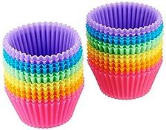 Idea Regalo - AmazonBasics Pirottini da forno riutilizzabili, in silicone, confezione da 24