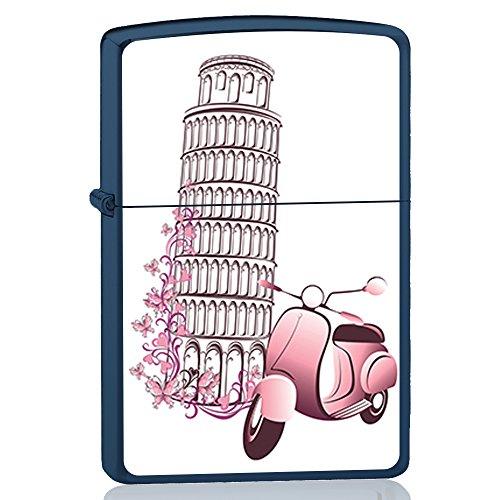 BJJ VALART Accendino blu, accendino a benzina con design: Torre di Pisa con moto classica