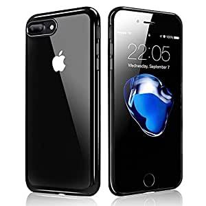 iPhone 7 Plus Custodia, Orlegol Bumper Caso Trasparente Crystal Silicone Gel Cover, Shock-Absorption Bumper Cover e Anti-Graffio Trasparente per Apple iPhone 7 Plus - Jet Black