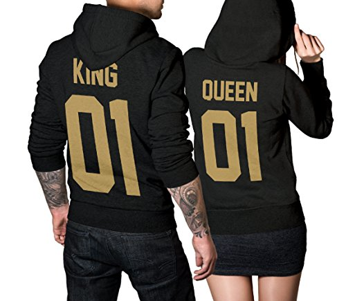 #King Queen 01 SET 2 Hoodies Pullover Pulli Liebe Love Pärchen Couple Schwarz/Gold (King L + Queen M)#