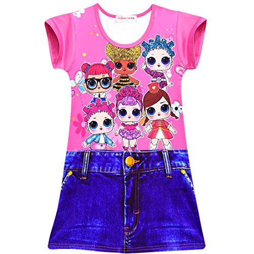 Dgfstm Comfy Loose Fit Pyjamas Girls Printed Princess Evening Dress Nightgown