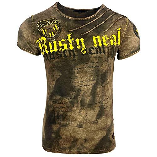 Rusty Neal Herren T-Shirt NO Mercy Waschung Washed Rundhals RN-15156-1, Größe:XXL, Farbe:Hellbraun