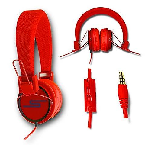 Casque audio stéréo rouge Extra-Bass Clear Sound avec fonction micro