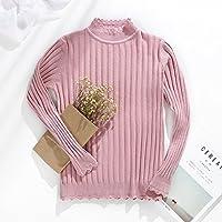 SZYL-Sweater Top de Punto de Mujer de Manga Larga para Otoño/Invierno Collar de Media Altura de Señora Stripe Stripe Slim, Rosa, Talla única