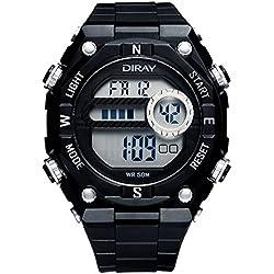 Unisex Sport Watch Multifunction Led Light Digital Waterproof Wristwatch(Silver)