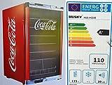 Husky HUS-HC 166 Highcube Flaschenkühlschrank Coca-Cola / A+ / 83,5 cm Höhe / 110 kWh/Jahr / 130 L Kühlteil inkl. Reinigungstuch