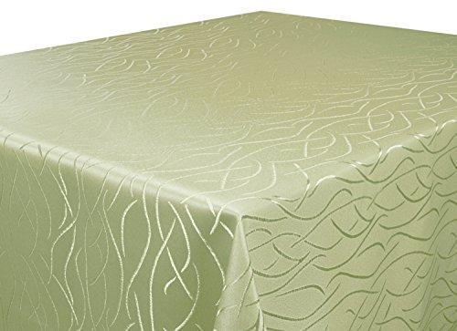 Tischdecke hell grün Rund 180 cm in glanzvoller Streifenoptik, eckig - Größe, Farbe & Form wählbar (Rund Eckig Oval) (Tisch Terrasse Tischdecke Runde)