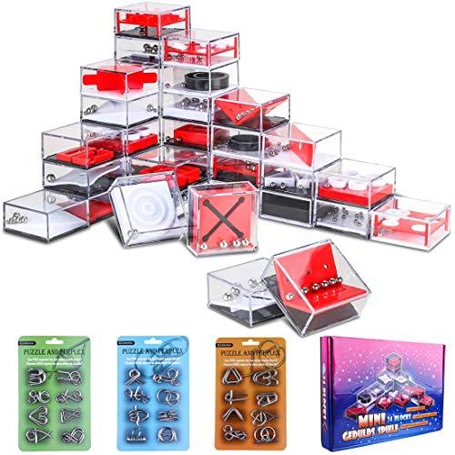 (FutureShapers 24Pack Metall Knobelspiele Set Rätsel Logikspiele IQ Puzzle + 24Pack Balance Labyrinth Spiel Maze Puzzle Mitgebsel Geduldspiele Adventskalender Inhalt für Kinder und Erwachsene)